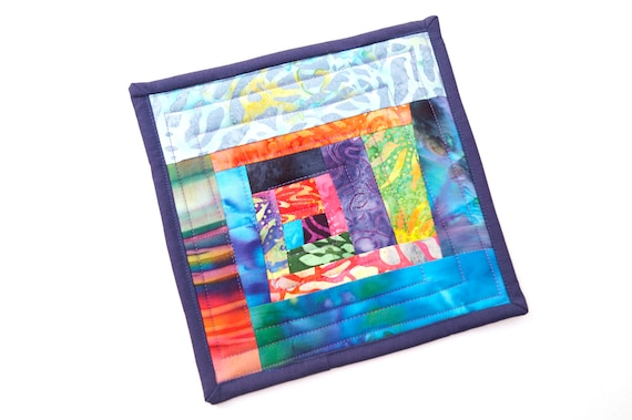 Quilted Batik Fabric Pot Holder with Colorful Patchwork