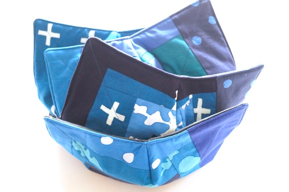 Blue Microwave Bowl Cozy with Choice of Hand Dyed Batik Fabric Patchwork, Soup, Bread or Ice Cream Bowl Holders