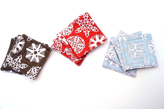 Snowflake Pattern Quilted Fabric Coaster Set, Set of Four, in Red, Blue or Grey
