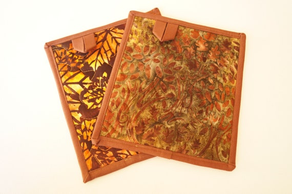 Quilted Pot Holders in Rich Fall Color Hand Dyed Batik Fabric, Choice of One or Both