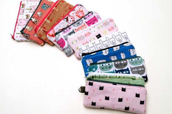 Padded Fabric Glasses Case,  Cosmetic Zipper Pouch, Sunglasses Holder with Cats & Other Animals