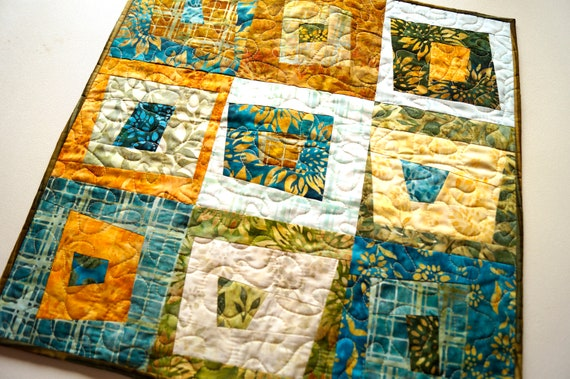 Batik Quilted Fabric Patchwork Table Topper or Wall Hanging in Shades of Brown, Teal Blue, Green, Orange and Yellow