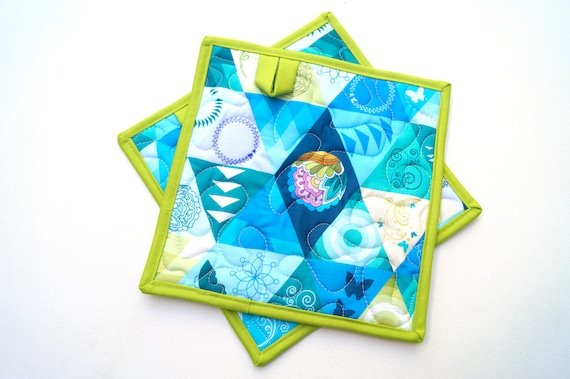 Quilted Fabric Pot Holders with Modern Blue Green Triangle Print with Hanging Tab Option
