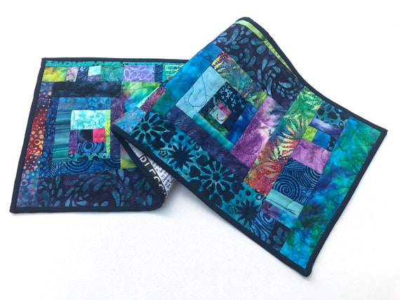 Quilted Patchwork Table Runner with Vibrant and Colorful Batik Fabrics, Tropical Cloth Wall Hanging