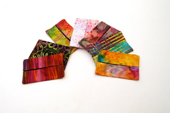Travel Size Tissue Cover, Cloth Pocket Tissue Holder with Choice in Hand Dyed Cotton Batik Fabric