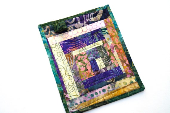 Quilted Pot Holder in Purple and Green Batik Fabric Patchwork