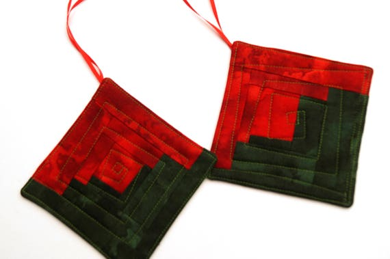 Christmas Ornaments in Rich Red and Green Modern Patchwork Set of Two