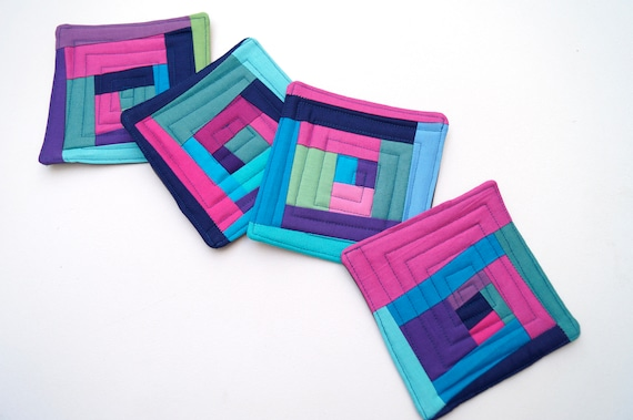 Quilted Fabric Coasters in Colorful Patchwork, Modern Cloth Drink Ware, Set of Four