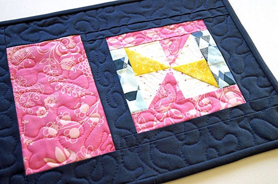 Quilted Place Mat in Pink, Blue and Yellow, Colorful Spring Patchwork Mug Rug with Pinwheels and Florals