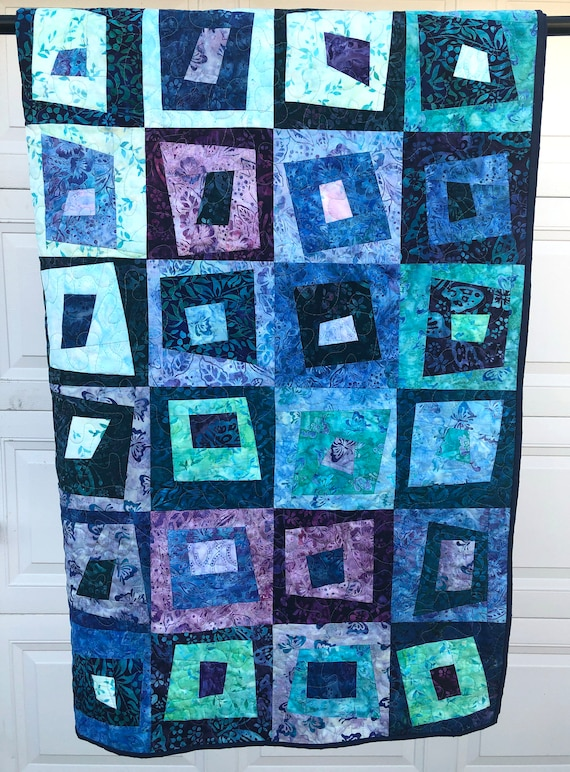 Quilted Patchwork Lap Blanket with Vibrant Hand Dyed- Batik Fabrics in Shades of Blue and Purple