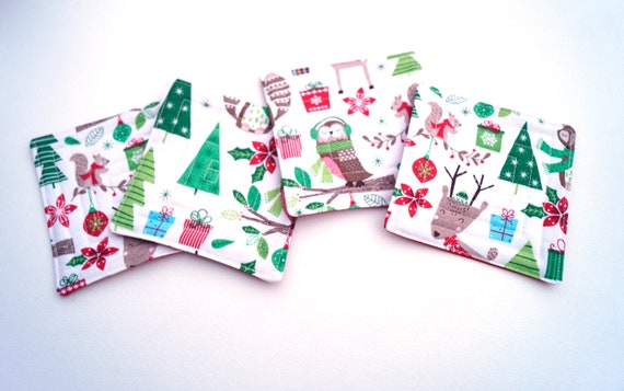 Quilted Christmas Fabric Coasters with Woodland Animals, Cute Holiday Cloth Drink Ware, Set of Four