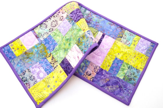 Quilted Patchwork Table Runner or Wall Hanging in Pink, Mustard Yellow and Matte Black Fabrics !Price Reduced Storm Sale!