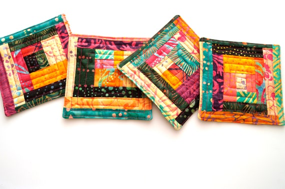 Quilted Fabric Coasters in Colorful Patchwork, Tropical Batik Fabric Drink Ware, Set of Four