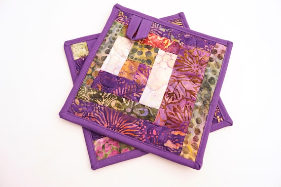 Quilted Batik Fabric Pot Holders with Purple and Green Patchwork, Set of Two