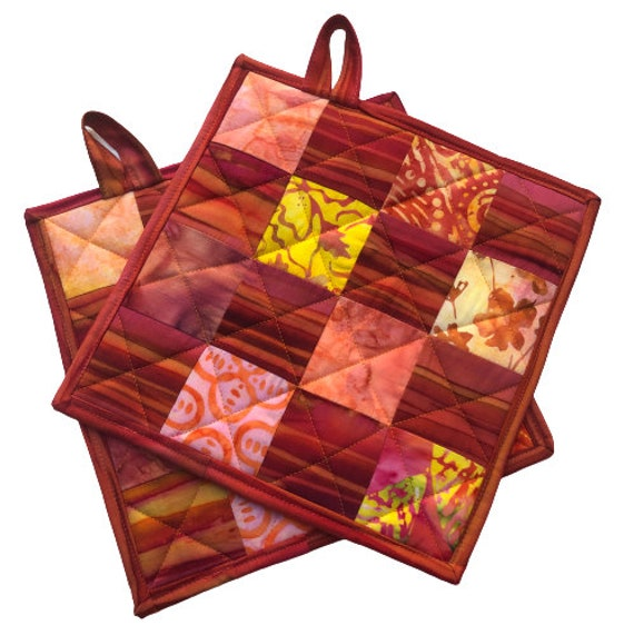 Batik Quilted Fabric Pot Holder with Vibrant Patchwork, Tropical Hot Pad in Warm Tone COlors