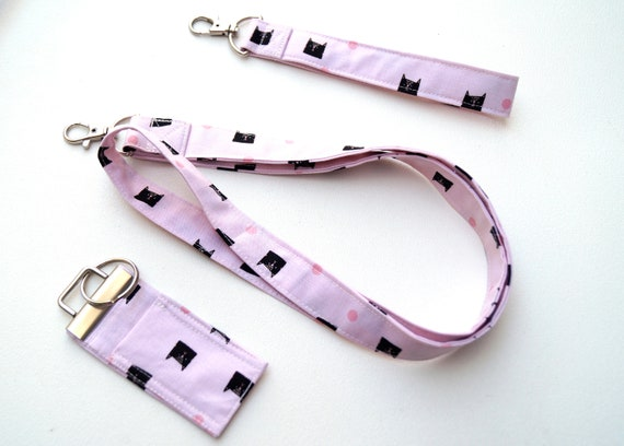 Pink Cat Fabric Accessory Set with Lanyard, Wristlet Key Chain & Chap Stick Holder, Choice of Set or Individual Item