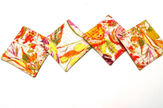 Quilted Cloth Coasters in Colorful Floral Fabric, Set of Four