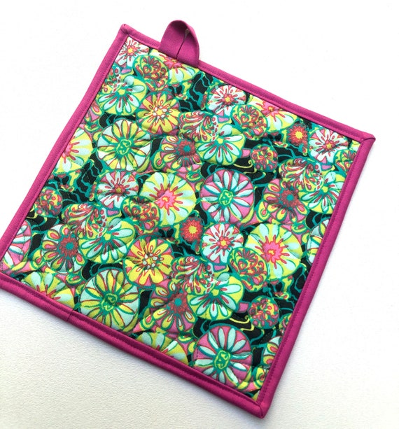 Quilted Fabric Pot Holders with Pink and Green Floral Pattern, Your Choice of One or Set of Two with Hanging Tab Option
