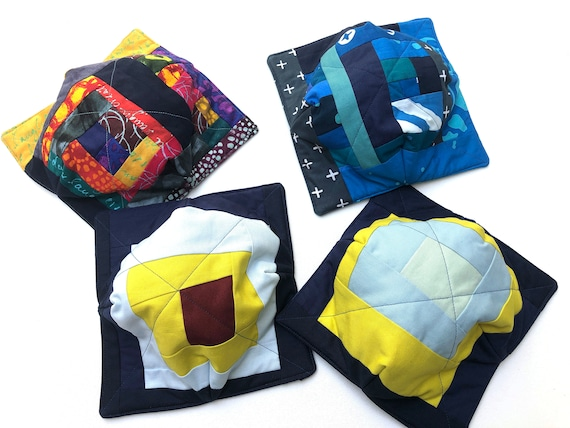 Microwave Bowl Cozy with Colorful Abstract Fabric Patchwork, Soup or Ice Cream Bowl Holder