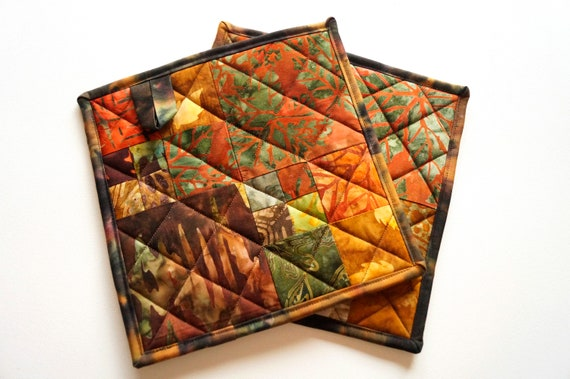 Quilted Batik Fabric Pot Holders with Rich Fall Color Patchwork with Terrycloth Backing, Set of Two