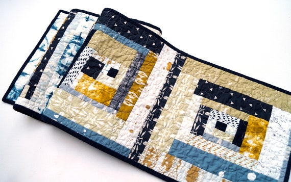 Quilted Patchwork Table Runner in Mustard Yellow and Indigo Blue, Southwest Style Table Decor
