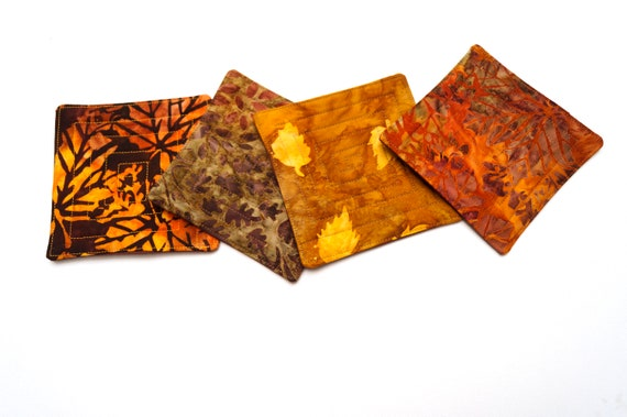 Fall Color Batik Fabric Quilted Coasters, Set of Four