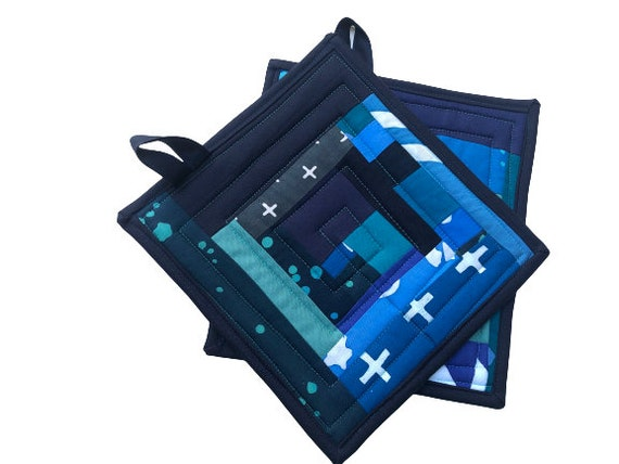 Quilted Modern Batik Fabric Pot Holders with Patchwork in Shades of Blue, Set of Two
