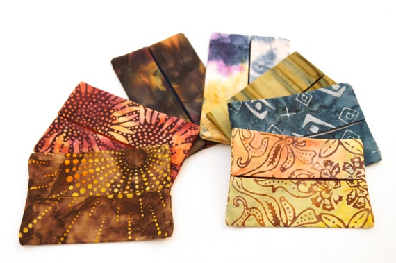 Travel Size Tissue Holder with your choice of Hand Dyed Batik Fabric in Rich Earth Tones