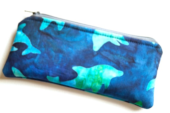 Blue Glasses Case in Batik Dolphin Pattern, Padded Fabric Cosmetic Pouch, Cloth Zippered Sunglasses Holder