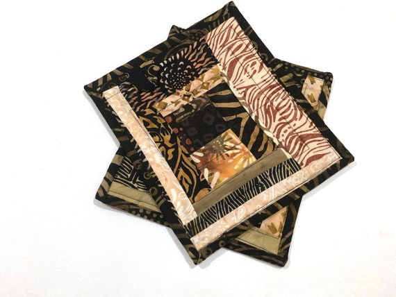Quilted Batik Fabric Patchwork Pot Holders in Earth Tones, Set of Two