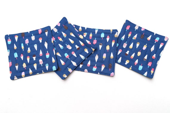 Quilted Fabric Coasters in Blue Ice Cream and Popsicle Pattern, Food Theme Drink Ware, Set of Four