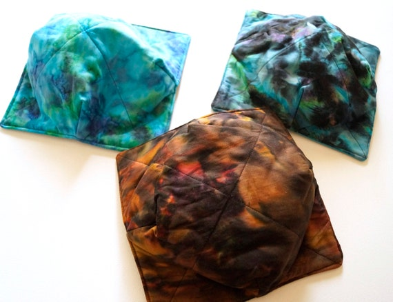 Microwave Bowl Cozy with Choice of Hand Dyed Batik Fabric in Shades of Blue, Green or Brown, Soup or Ice Cream Bowl Holders