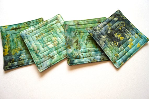 Quilted Fabric Coasters with Green Triangle Cotton Batik Fabric, Tropical Cloth Drink Ware, Set of Four