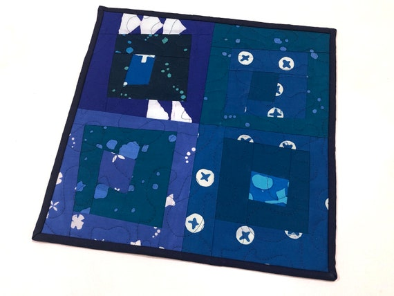 Blue Patchwork Mini Quilt in Modern Batik Fabrics for use as a Table Topper, Wall Hanging, Place Mat