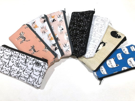 Cat Fabric Zipper Pouch or Padded Glasses Case with Choice of Pattern