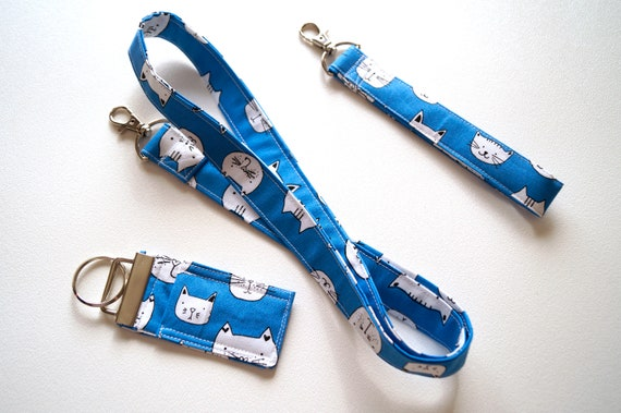 Blue Cat Fabric Lanyard, Wristlet Key Chain & Chap Stick Holder, Your Choice of 1 or Set of 3