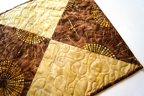 Batik Fabric Table Topper with Earth Tone Quilted Patchwork