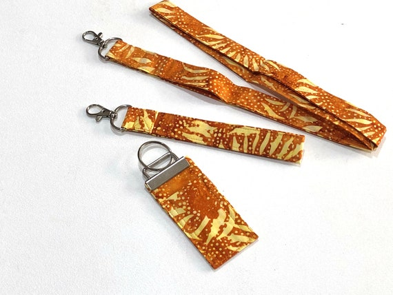 Sunflower Batik Fabric Lanyard, Wristlet or Chap Stick Holder Key Chain in Orange and Yellow, Choice of One or Set of Three