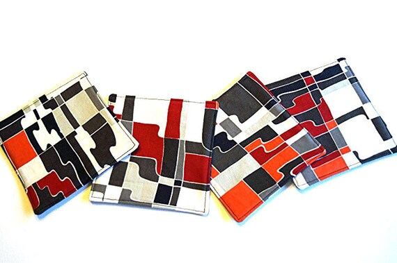 Abstract Fabric Drink Coasters in Red, Orange, Grey and Black, Set of Four