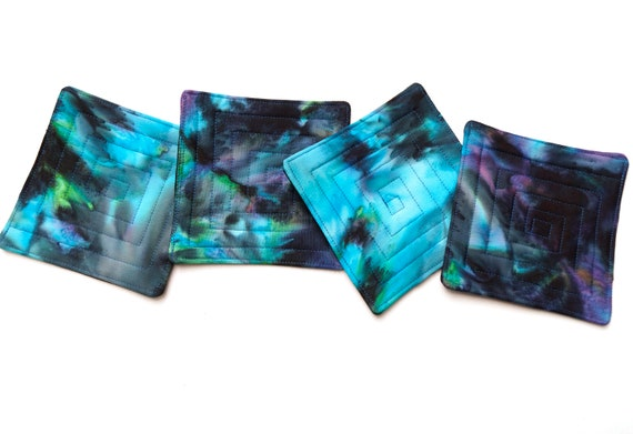 Blue and Black Quilted Batik Fabric Coasters, Vibrant Hand Dyed Cloth Drink Ware, Set of Four