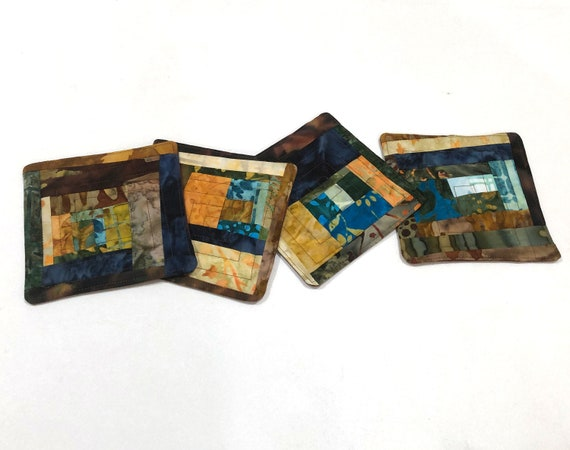 Quilted Batik Fabric Coasters Set with Colorful Patchwork, Earth Tone Drink Ware, Set of Four