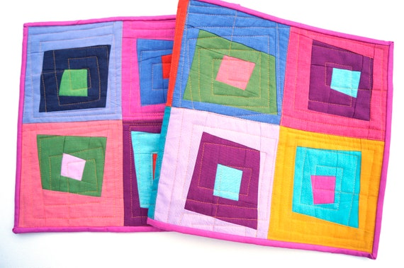 Quilted Table Runner with Colorful Patchwork, Wonky Log Cabin Pattern Table Cover