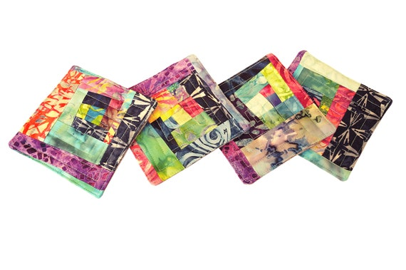 Quilted Batik Fabric Coasters with Colorful Patchwork, Set of Four