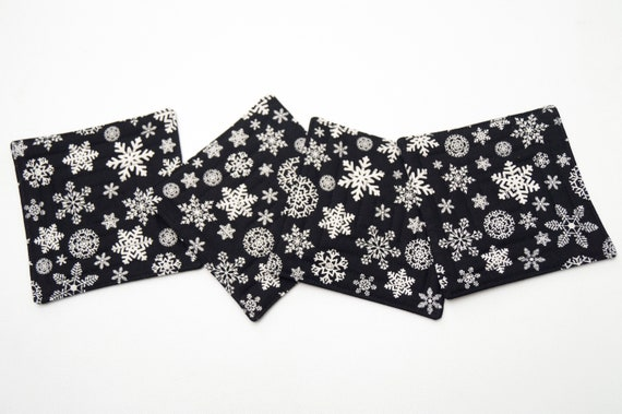 Quilted Fabric Coasters in Black and White Snowflakes, Christmas Cloth Drink Ware, Set of Four