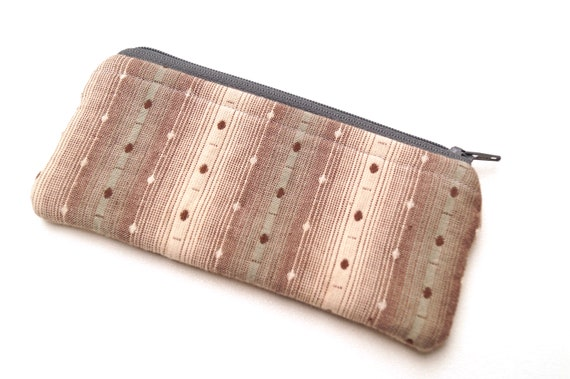 Glasses Zipper Case with Grey Homespun Fabric, Sunglasses Fabric Holder in Gray Stripes