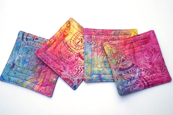 Quilted Fabric Coasters with Colorful Paisley Pattern, Tropical Batik Cloth Drink Ware, Set of Four
