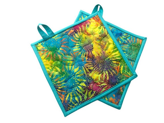 Quilted Batik Fabric Pot Holders with Colorful Hand Dyed Sunflower Print