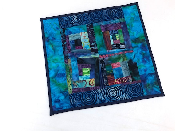 Batik Fabric Mini Quilt with Vibrant, Modern Patchwork for use as a Table Topper or Wall Hanging