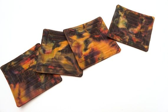 Quilted Batik Fabric Coasters in Earth Tones, Fall Color Drink Ware, Set of Four