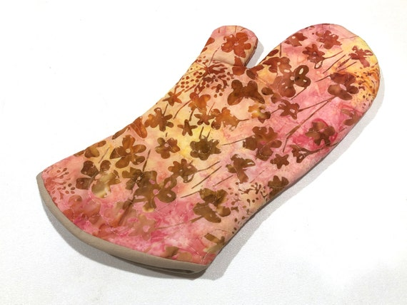 Quilted Batik Fabric Oven Mitt with Pink and Yellow Floral Pattern, with Hanging Tab Option